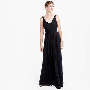 J.Crew Black Heidi Silk Chiffon Formal Gown 2P